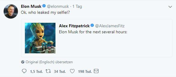 Elon Musk als Baby Groot