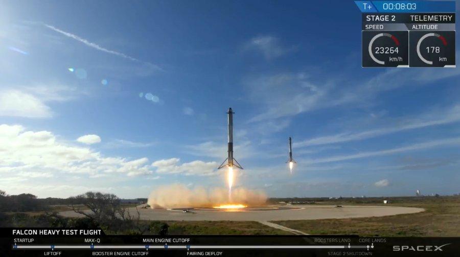 Falcon Boosters landen synchron