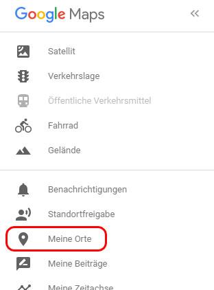 """Google Maps """"Meine Orte"""" öffnen"""