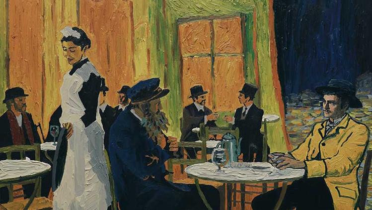 Armaud (rechts) mit seinem Vater - sowohl der Mann in gelb ist ein Motiv van Gogh's, als auch die Café-Szenerie
