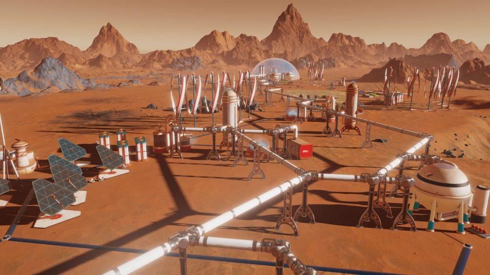 Rohrleitungen und Gebäude auf dem Mars