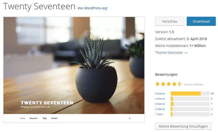 Das aktuelle Twenty Seventeen-Theme im wordpress.org-Theme-Verzeichnis