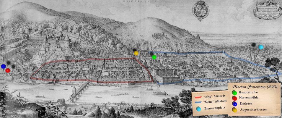 Merians Heidelberger Stadtpanorama (Blick nach Süden)