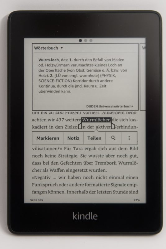 Kindle Paperwhite mit Wörterbuch und Erklärungen