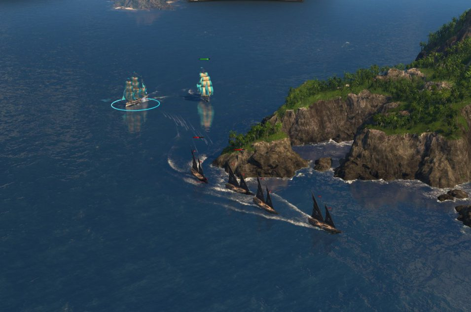 Zwei Linienschiffe vertreiben vier Piraten