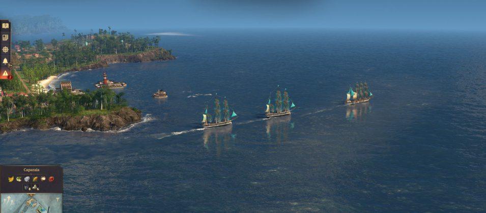 Zwei Fregatten eskortieren einen Klipper