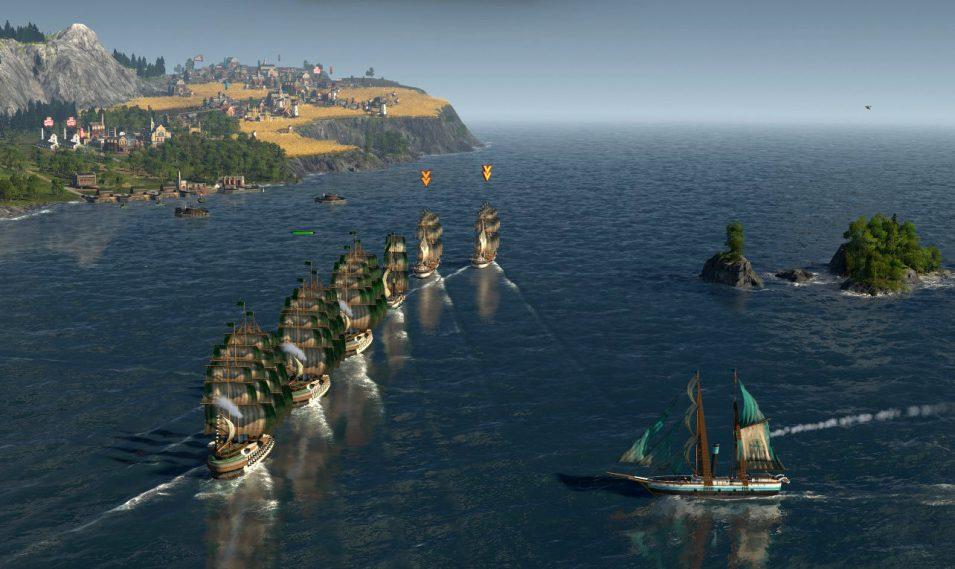 Mehrere Schiffe fahren in Linie