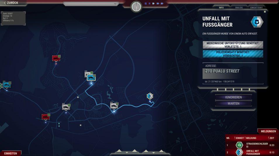 Kartenansicht mit Einsatzfahrzeugen und Meldungen