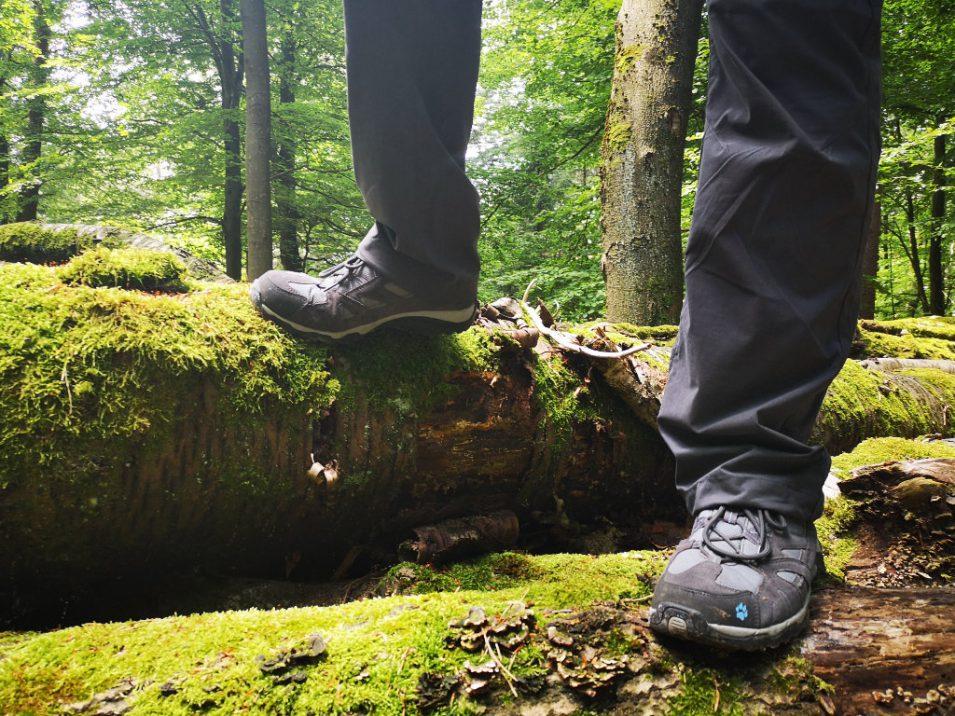 Debbie steht mit Wanderschuhen auf Baumstämmen im Wald