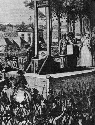Stich von der Hinrichtung Marie Antoinettes 1794 in Paris