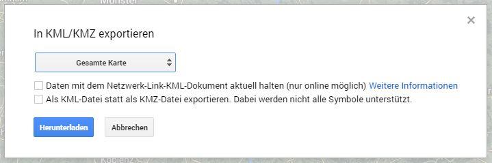 Das Exportieren-Fenster in Google MyMaps