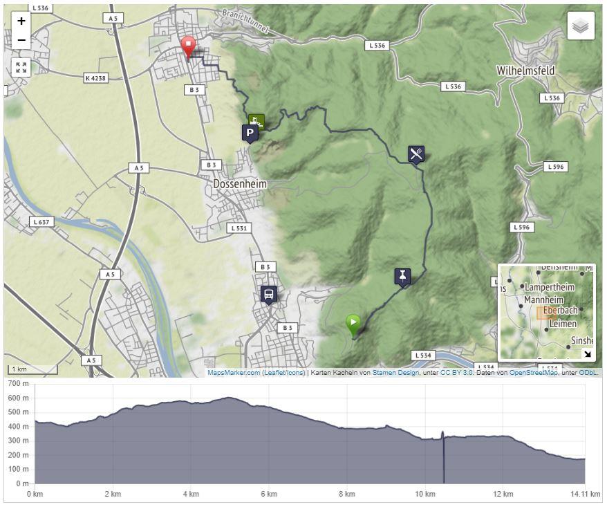 Karte einer GPS-getrackten Wanderung mit Höhenprofil