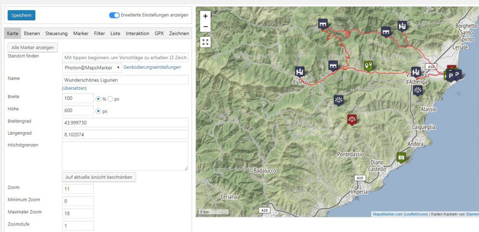 Kartenbearbeitung in Maps Marker Pro
