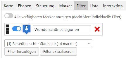 Marken filtern in Maps Marker Pro