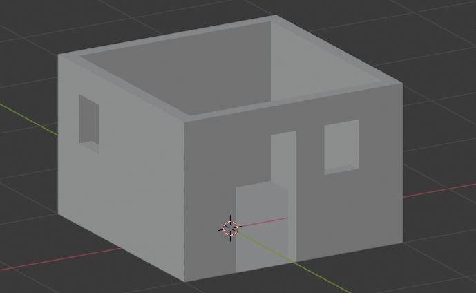 Haus mit Fenstern und Tür