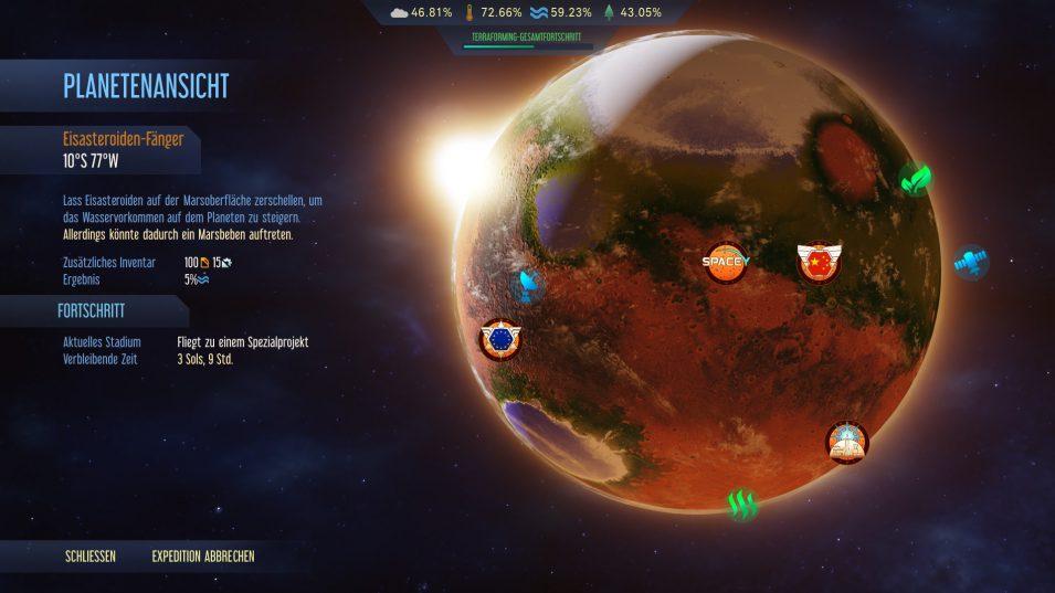 Die Planetenansicht bei fortgeschrittenem Terraforming-Prozess