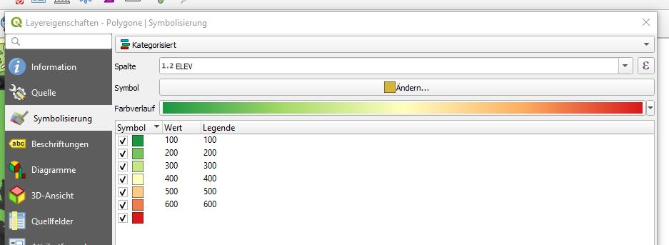Fenster mit Einstellungen für kategorisierte Layerstile
