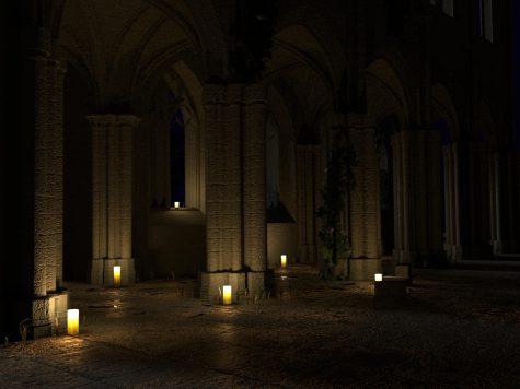 Kathedrale bei Kerzenschein 3D
