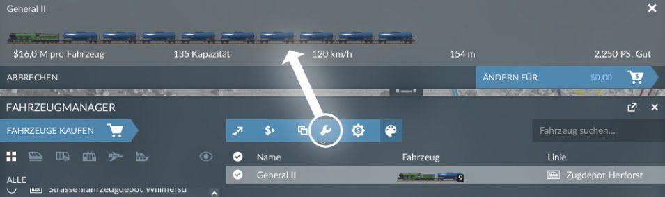 Zug in Transport Fever 2 nachträglich konfigurieren