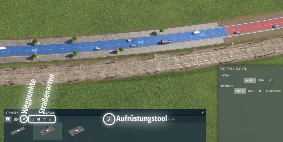 Das Straßenbaumenü in Transport Fever 2