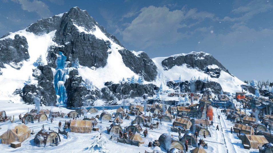 Meine kleine arktische Siedlung vor pittoreskem Wasserfall :D