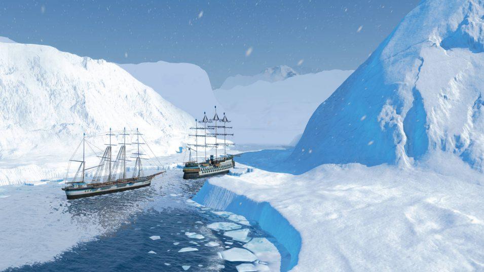 Zwei meiner Segelschiffe zwischen Eisbergen