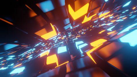 Futuristisches Blau-Orange