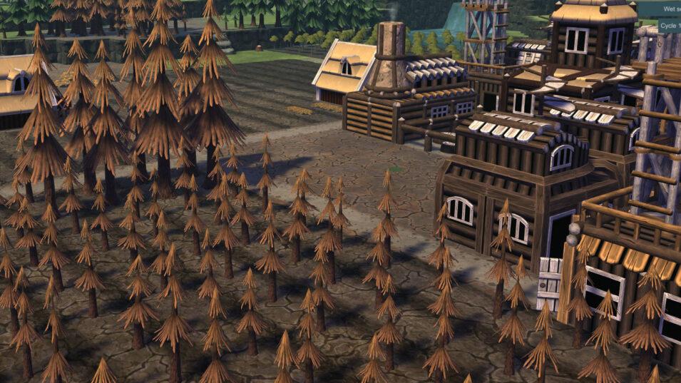 Vertrocknete Böden und Pflanzen in Timberborn